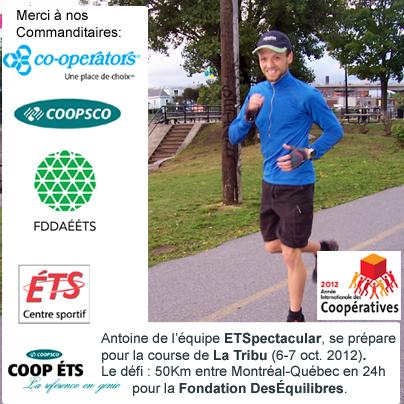 Antoine le deuxième coureur de l'équipe ÉTSpectacular!