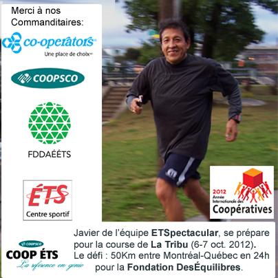 Javier le coureur No 4 de l'équipe ÉTSpectacular!