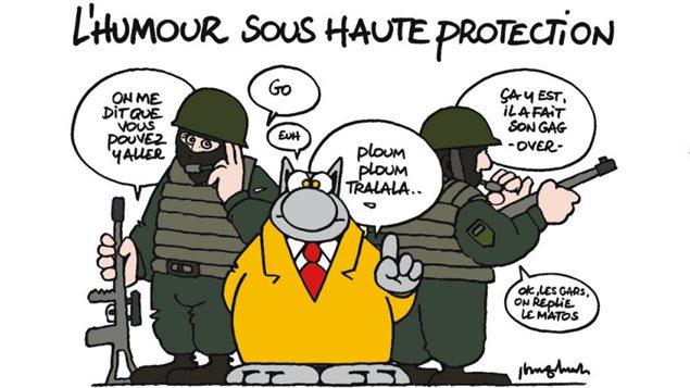 Le dessin de Philippe Geluck publié dans le collectif « La BD est Charlie »  Photo :  Philippe Geluck